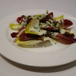 Cured Duck Breast with Endive, Candied Nuts, Stilton Dressing