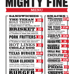 Texas Joe's food menu!