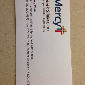 Mercy clinic eye specialists eyewear opticians 3231 for Business cards springfield mo