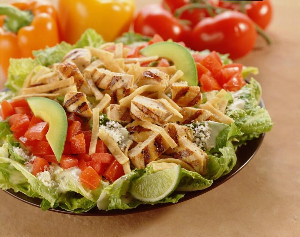 Chile Lime Salad with chicken, cotija cheese & avocado, topped with ...