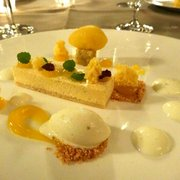 a modern interpretation of cheese cake with kumquat sorbet
