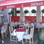 Outdoor seating smoking shisha or eating