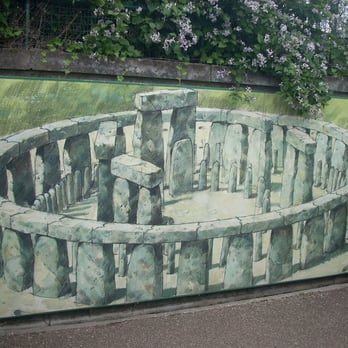 A nearby mural painting displaying how it used to be ages ago.