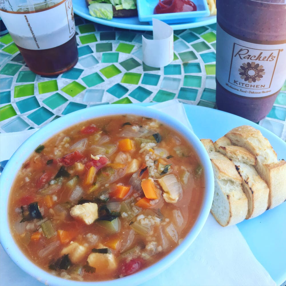 Chicken and rice soup with acai berry smoothie