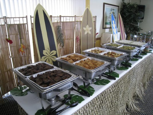 Wedding Buffet Table Setup Wedding luau buffet table deco
