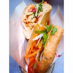 Chicken banh mi (back), special banh mi…