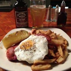 Gamon steak and fried egg with pineapple…
