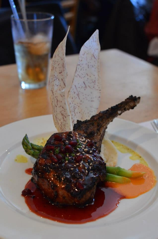 The House - San Francisco, CA, États-Unis. kurobuta pork chop w/ pomegranate currant sauce