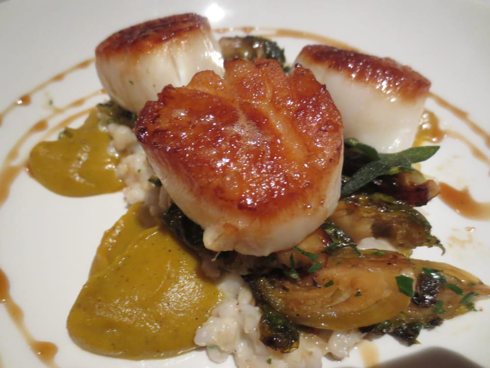 Seared scallops with barley risotto, spiced squash, roasted