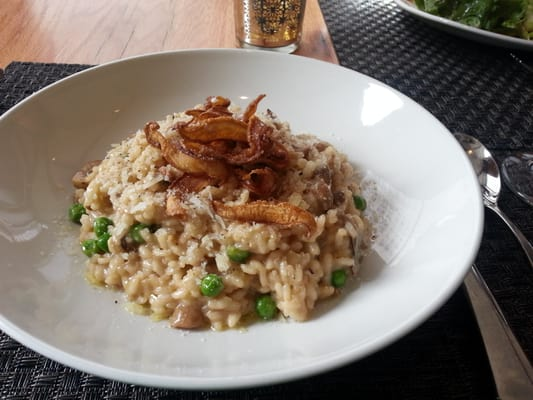 Herb roasted wild mushrooms and goat cheese creamy risotto with grated ...