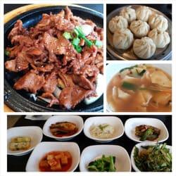 Garden Korean Cuisine - Pork bulgogi, mandoo (pork and veggie dumplings), sujebi(buckwheat noodles and veggie soup), and banchans. - Federal Way, WA, Vereinigte Staaten