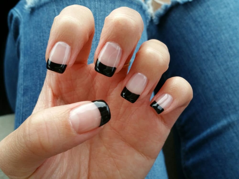 Q and Alyssa did my nails today! Simple black french tip for ...