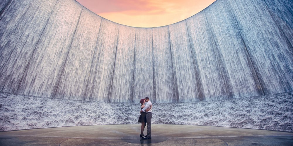 Engagement Photo At The Houston Water Wall Near The
