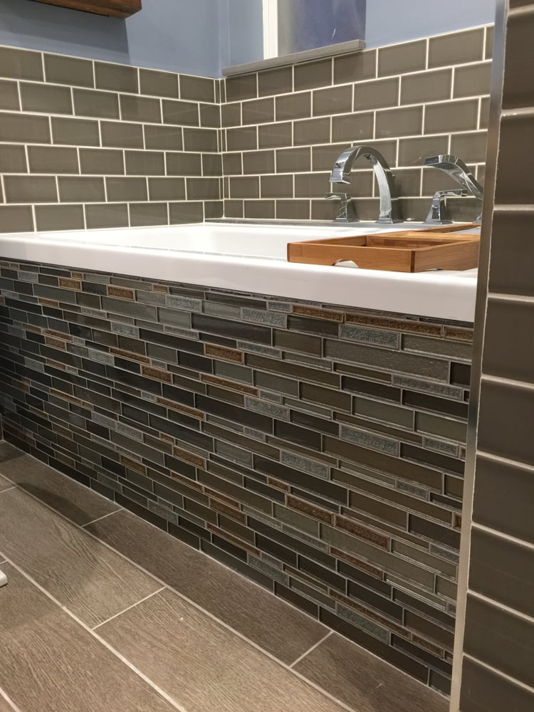 Gorgeous glass tile for front of tub. Subway tile and all grout from ...