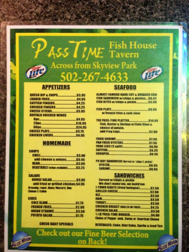 Da menu yelp for Fishing in louisville ky