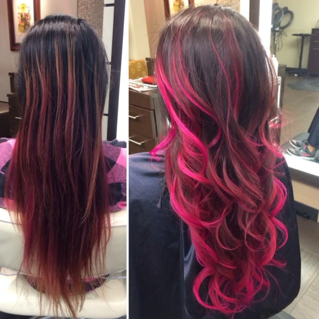 signature balayage/ombré in hot pink - Yelp