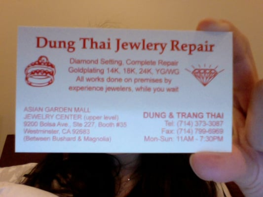 Dung Thai Jewelry Repair 9200 Bolsa Ave Westminster CA Jewelers