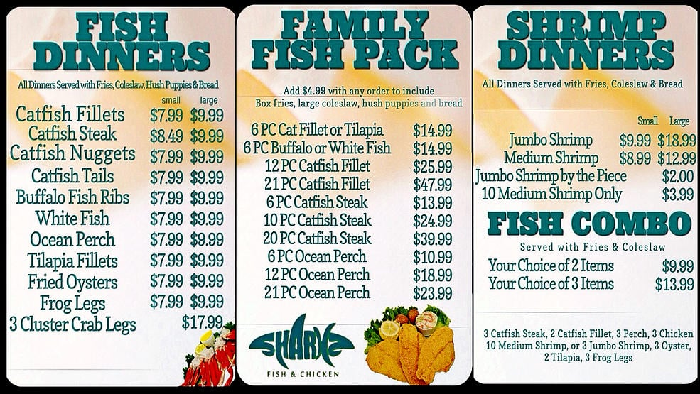Sharks fish chicken chicken wings 3659 hickory hills for Sharks fish and chicken menu