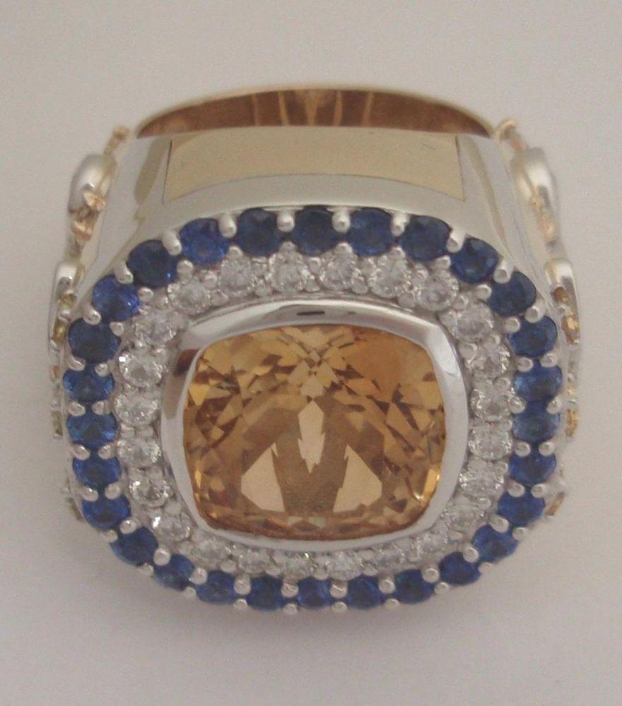 J Thomson Custom Jewelers: Custom Porter Two Tone Sapphire Diamond-golden Citrine