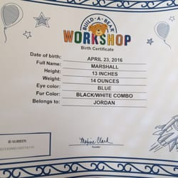 Build a bear workshop 15 photos 15 reviews arts for Build a bear birth certificate template