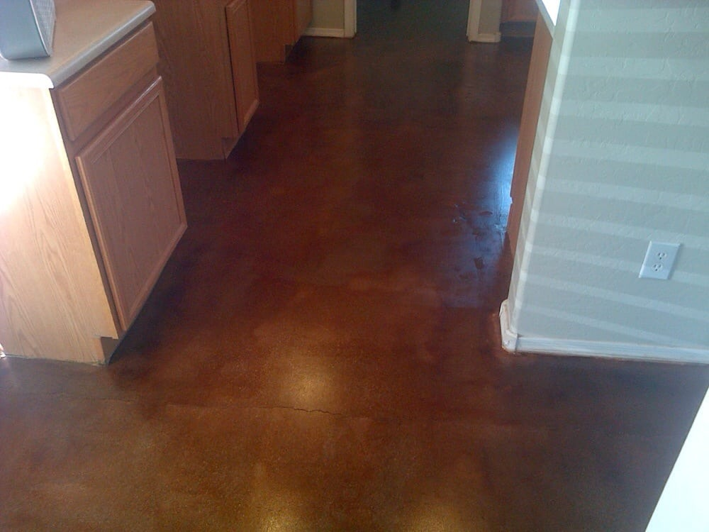 Grinded, stained russet brown, and sealed concrete floor - Yelp