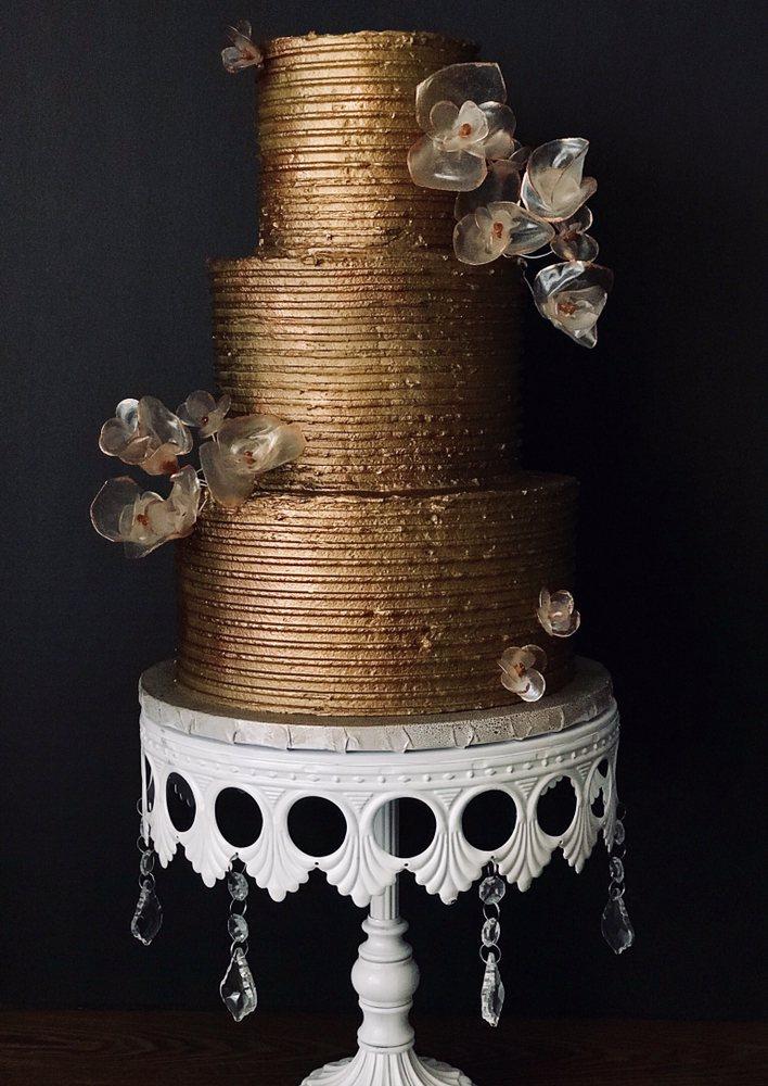 Bronze Buttercream Wedding Cake With Rice Paper Flowers Yelp