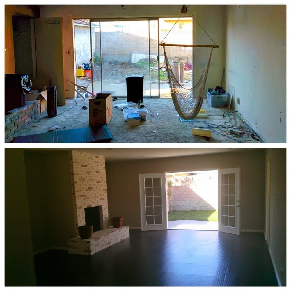 Replace Sliding Door With New French Doors Refinished Fireplace