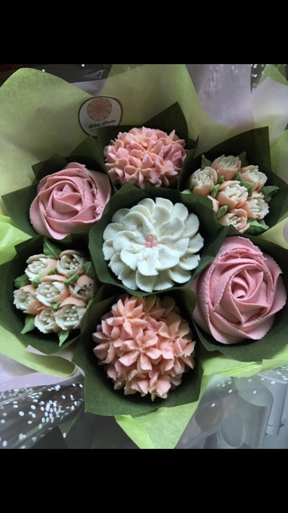 Stunning cupcake bouquet for my grandmother\'s birthday. She loved ...