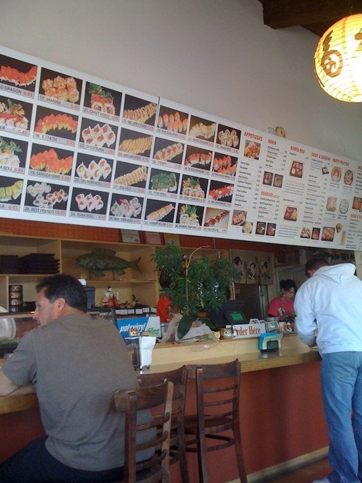 The menu fast food style you order pay then sit to for Fat fish san leandro