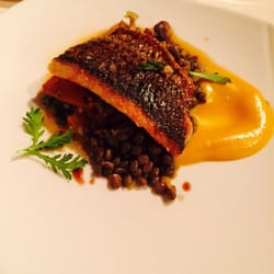 ... 5th course, Colorado Striped Bass, Lentils, squash, heirloom tomatoes