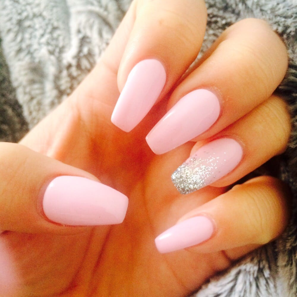 Coffin nails! Pink w/ ombre glitter - Yelp