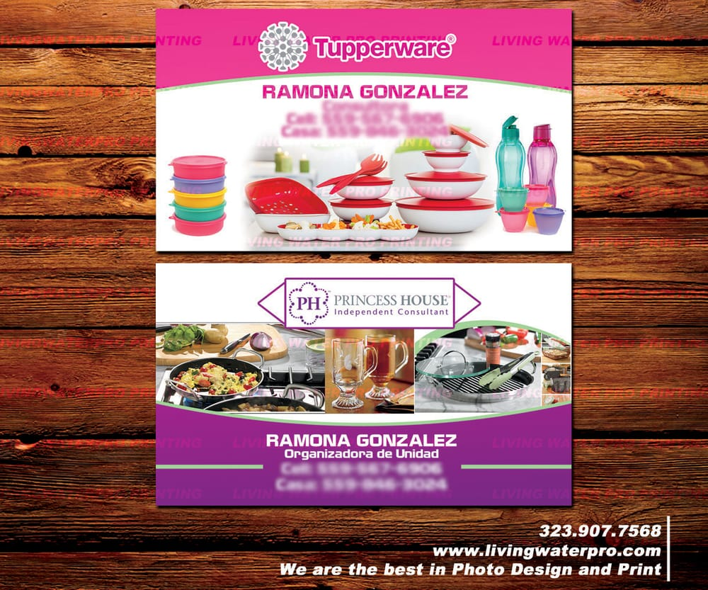 business cards design and printliving water pro printing in - Tupperware Business Cards