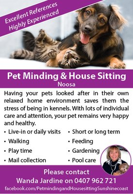 Noosa House Sitting and Pet Minding - Request a Quote - Pet Sitting