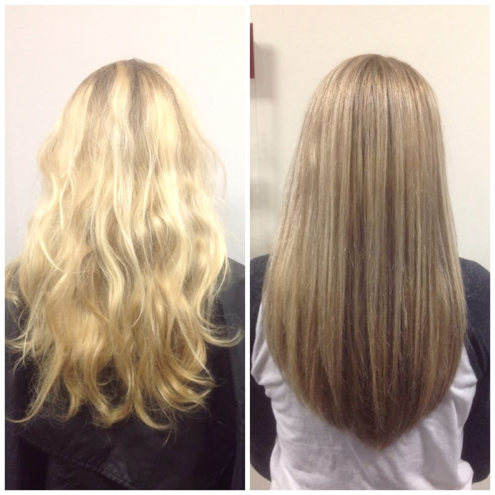Before And After Hair Color Correction On A Bleach Blonde Highlight