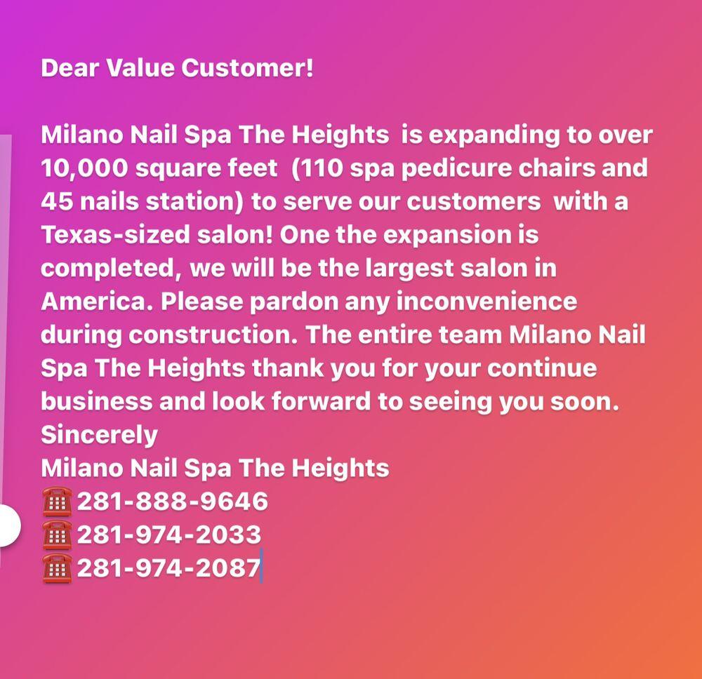 Milano Nail Spa The Heights: 2799 Katy Fwy, Houston, TX
