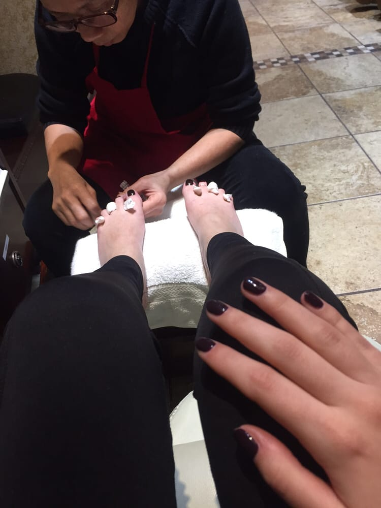 Tracy doing pedicure, and Diane did gel manicure! Color: Essie 249 ...
