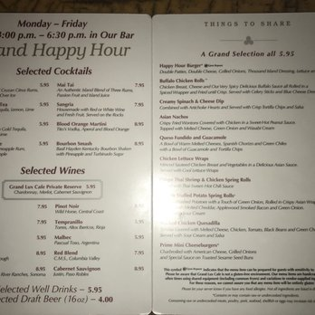 Grand Lux Cafe Menu Prices Miami