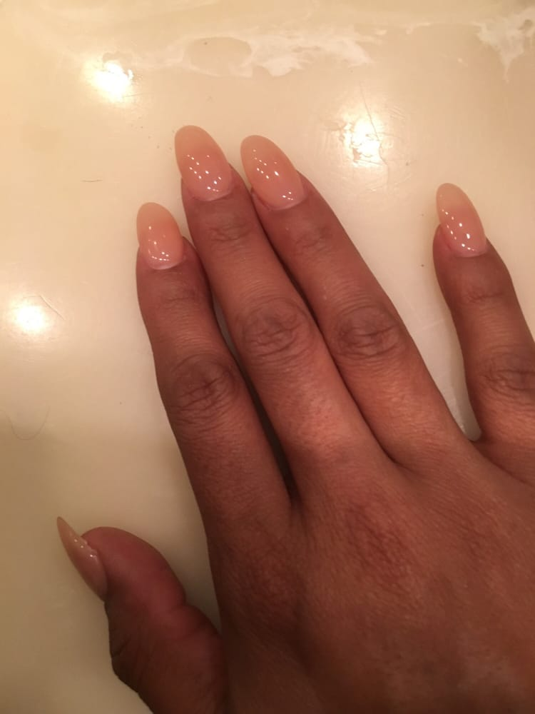 Neutral almond shaped nails - Yelp