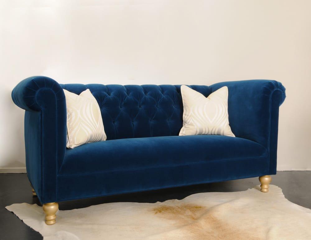 Custom Cobalt Blue Velvet Tufted Sofa Yelp