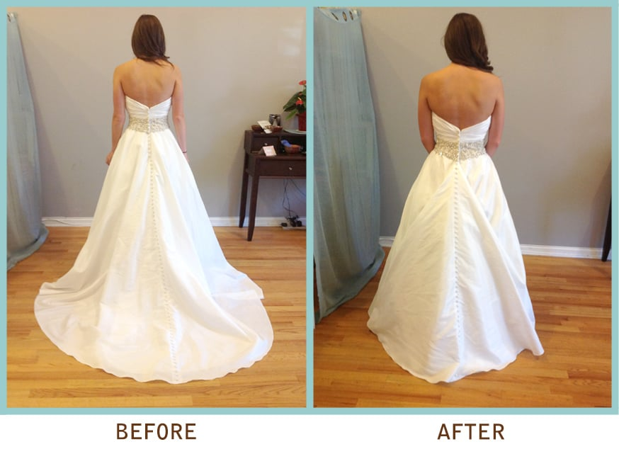 1 point over bustle also known as american style bustle for Wedding dress cleaning chicago