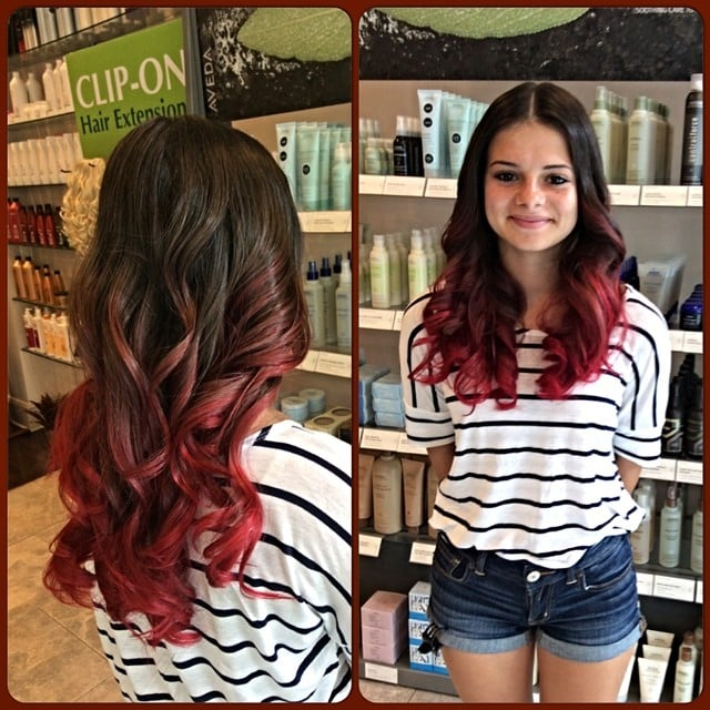 Trendy bright red ombre hairstyle on a light brown natural for A la mode salon brooklyn