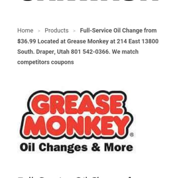 photo relating to Grease Monkey Coupons Printable identified as Grease monkey coupon codes draper utah / Macys no cost transport