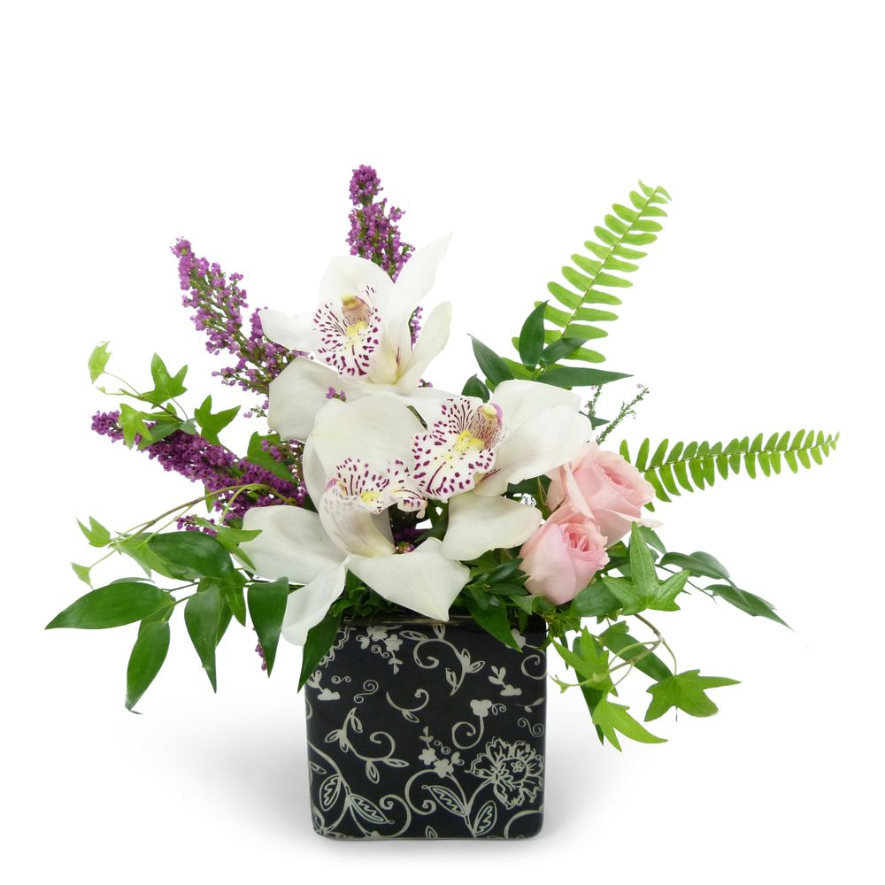 Classy Cymbidium Orchids Arrive In A Floral Print Cube Accented With