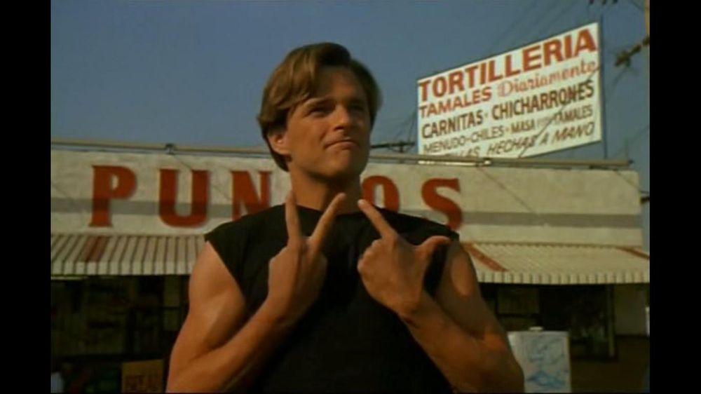 Preppie cholo Damian Chapa flashes a gang sign (Vatos ...