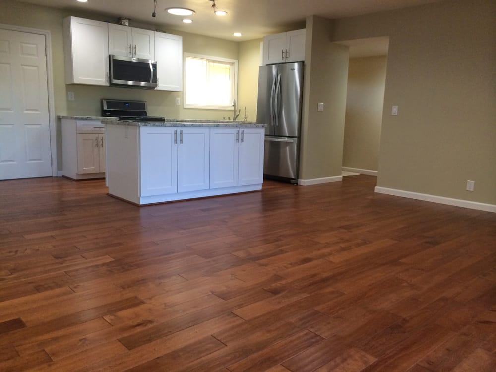 White Kitchen Cabinets And Hand Scraped Birch Wood Floors Yelp