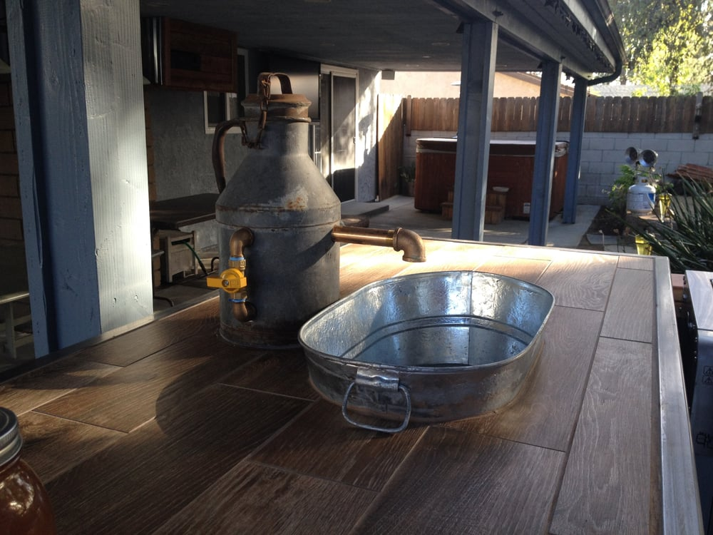 Outdoor Kitchen Custom Made Faucet Amp Galvanized Tub Sink
