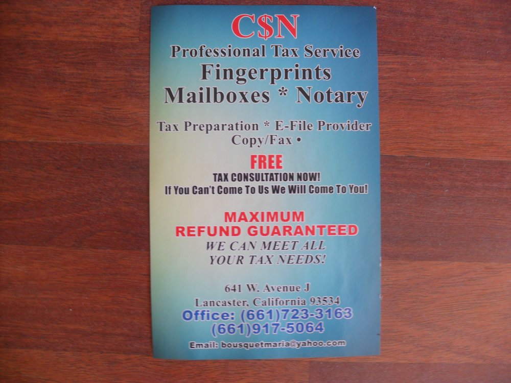 CSN Professional Tax & Mail services - Notaries - Lancaster