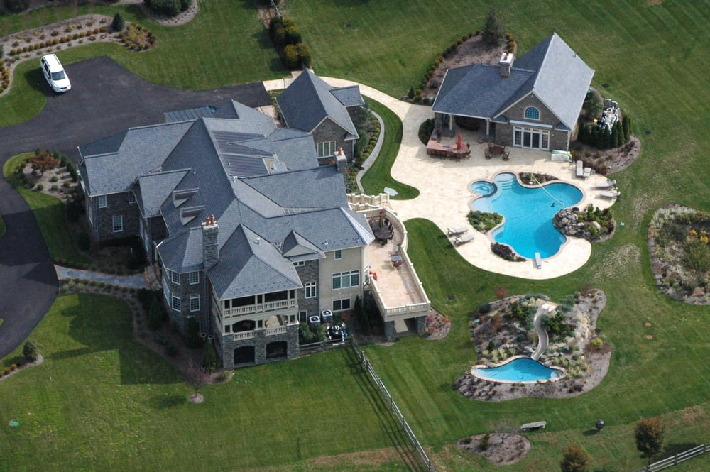 Ultimate backyard with pool house pool with detached - Mostardi s newtown square garden ...