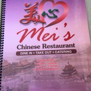 Chinese Restaurant In Shell Beach Mei S Menu