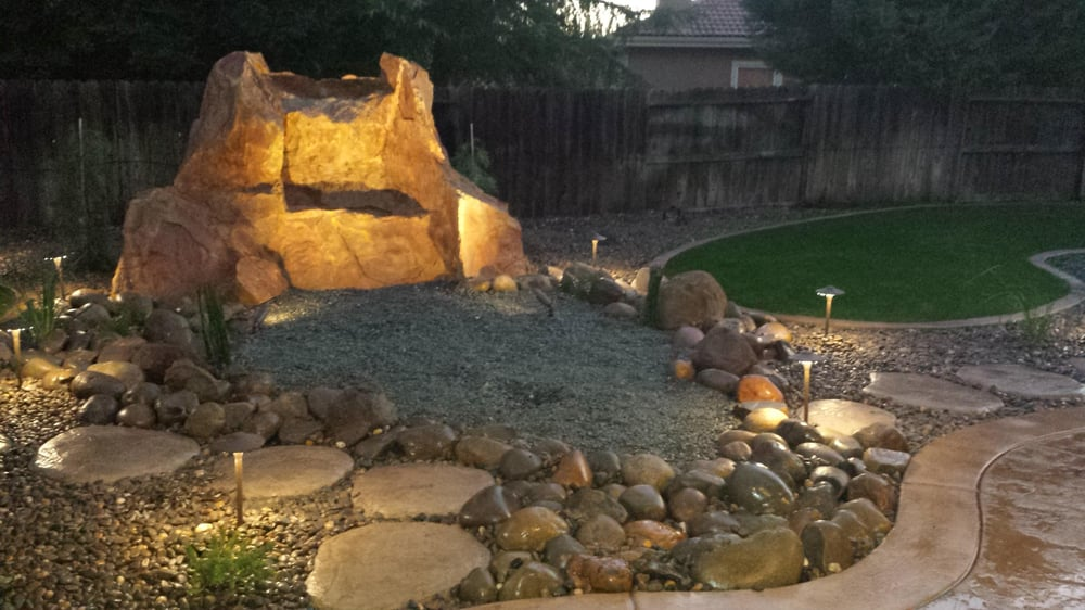 Photo of One Stop Landscaping - Elverta, CA, United States. Full back yard - Full Back Yard Remodel. Pond-less Concrete Water Feature, Out Door